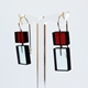 Construction 3 earrings Red