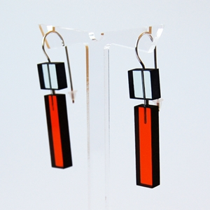 glass and orange construction earrings 11