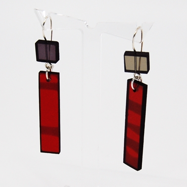 grey and red Construction earrings 21