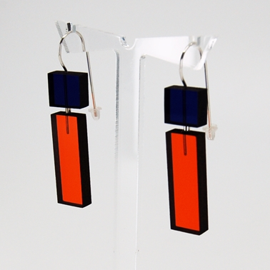 orange and blue 22 Construction earrings