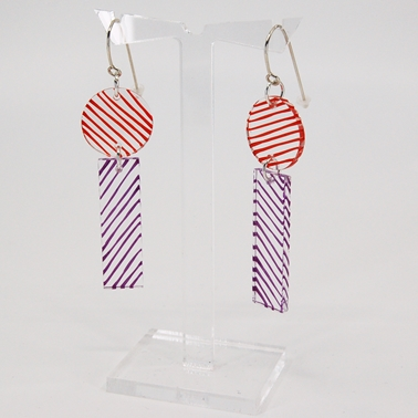 studio earrings orange and purple