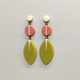 Long drop leaf earrings green