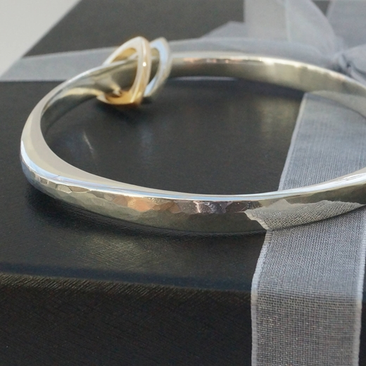Triangular Bangle with silver and 9ct gold charms