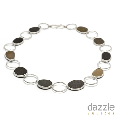 Pebble and Coiled Hoop Necklace