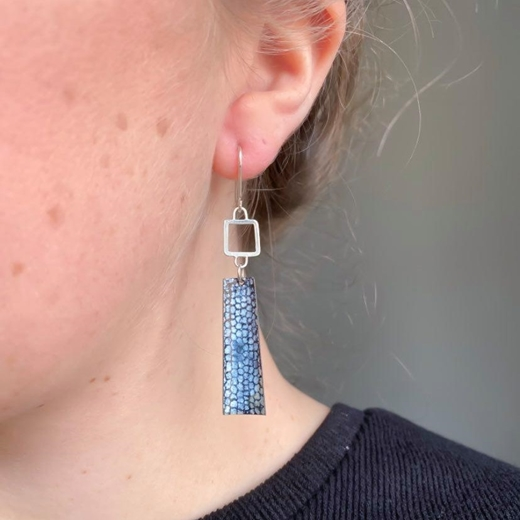 Blue Square Wire Rectangle Drop Earrings