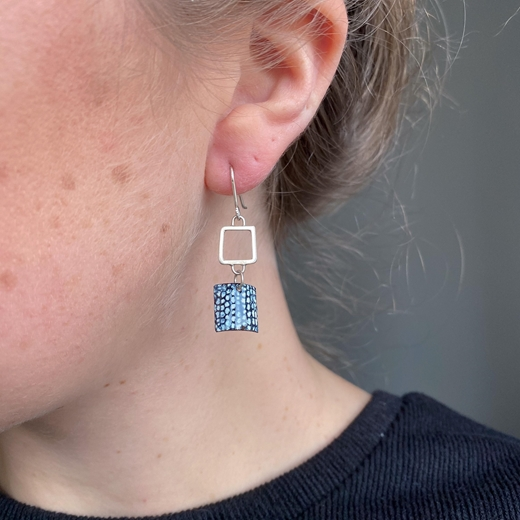 Blue and Silver Square Wire Drop Earrings
