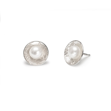 French Knit Imprinted 12mm Studs with Pearls