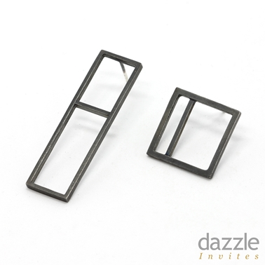 Frame Earrings flat - Oxi silver