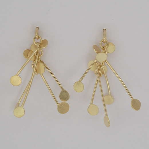 Chaos wire stud earrings, gold satin