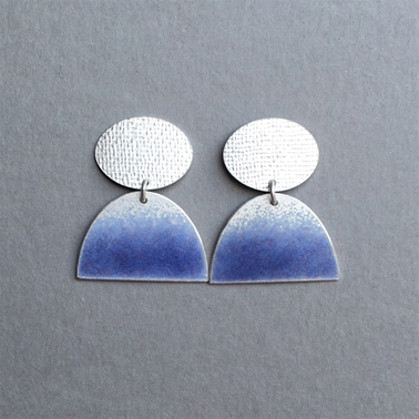 Silver oval stud and Violet blue half oval