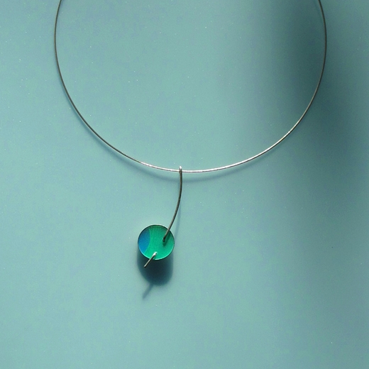 green and blue single disc pendant
