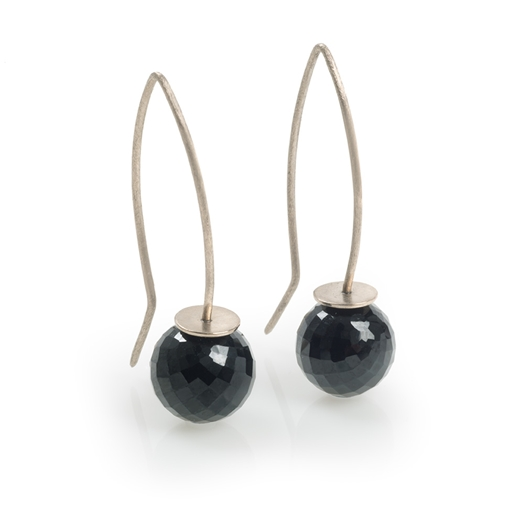 18ct White Gold Earrings with Black Spinel