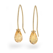 18ct Yellow Gold Earrings with Citrine Briolette Beads