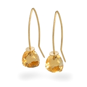 18ct Yellow Gold Earrings with Citrine Trillion