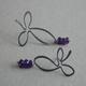 Oxidised silver flower earrings w/9ct/amethyst