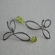 Ox silver flower earrings with 9ct/peridot