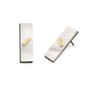 Rectangle earrings with gold detail