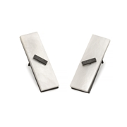 Mother of pearl rectangle stud earrings oxidised