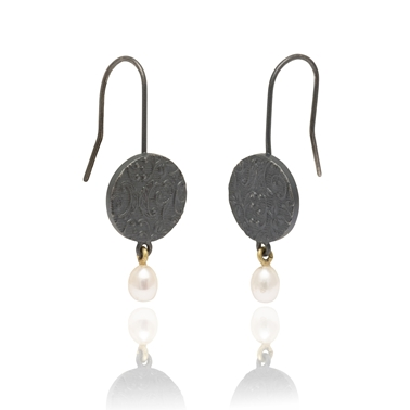 Brocade hook earrings with pearl