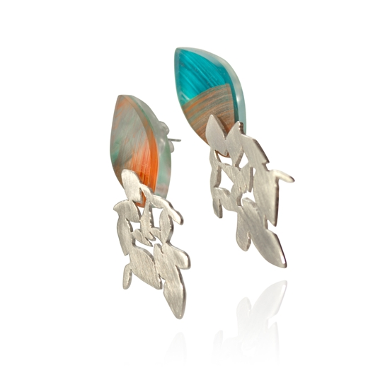 Blue and Orange Swing Earrings
