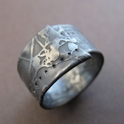 Oxidised narrow wrapped ring