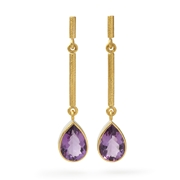 Sterling Silver and 24ct Gold Earrings with Amethyst