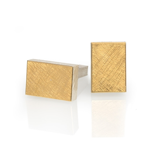 24ct Gold and Silver Rectangular Cufflinks