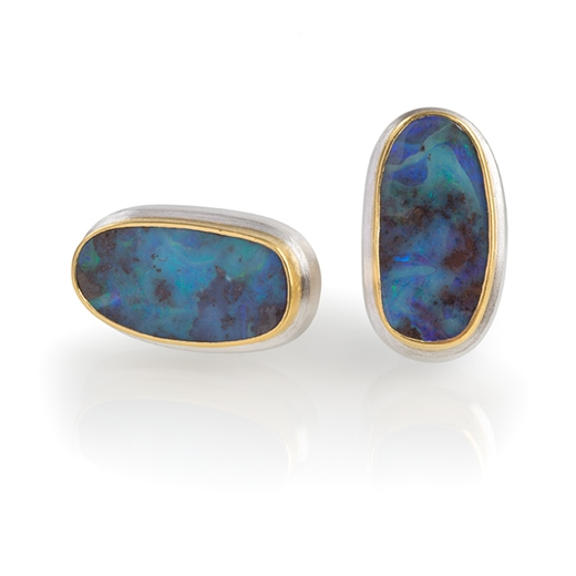 24ct Gold and Silver Cufflinks with Bolder Opals