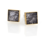 Silver and 24ct Gold Cufflinks with Turmalinated Quartz