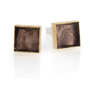 Silver and 24ct Gold Cufflinks with Smokey Quartz