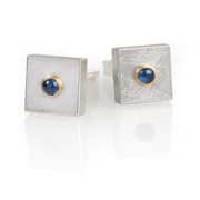 Silver and 24ct Gold with Blue Sapphires Cabochon