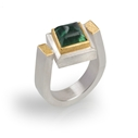 24ct Gold and Silver Ring with Green Tourmaline