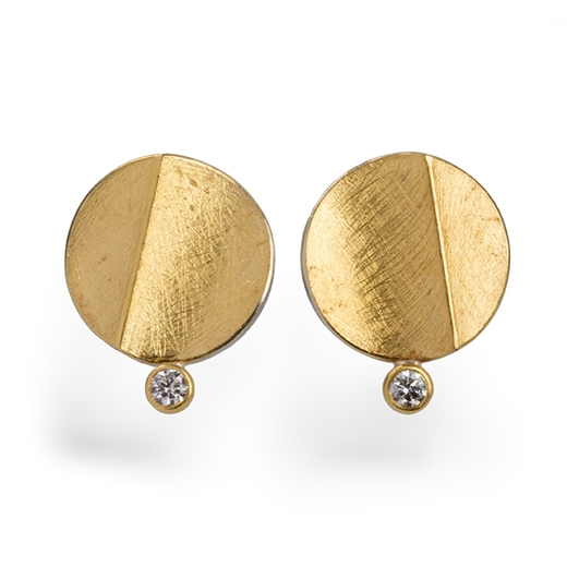 24ct Gold and Silver Earrings with Round Diamonds