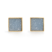 Silver, 24ct Gold Earrings with Square Gray Druzy Agate