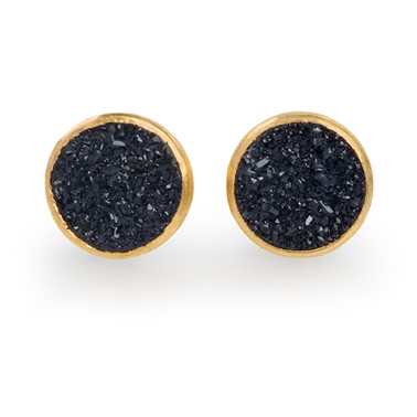 Silver, 24ct Gold Earrings with Black Round Small Druzy Agate