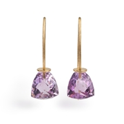 18ct White Gold Earrings with Amethyst Trillion