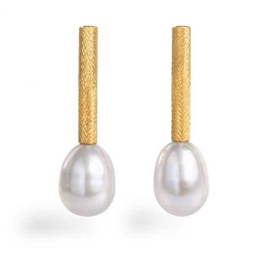 Silver, 24ct Gold Earrings with Large White Pearls