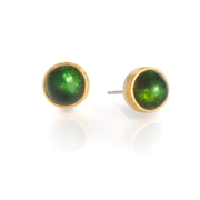 24ct Gold and Stirling Silver Earrings with Green Tourmalines