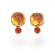 24ct Gold and Silver Earrings with Mandarine Garnets and Fire Opals