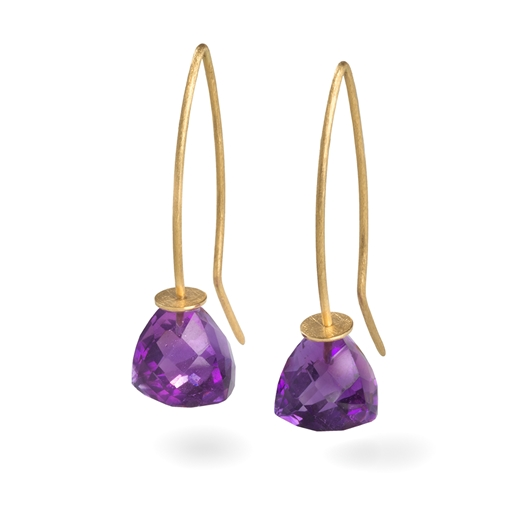 18ct Yellow Gold Earrings with Amethyst Trillion