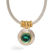 24ct Gold and Silver Necklace with Green Tourmaline