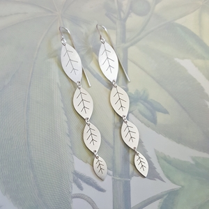 long silver leafy earrings