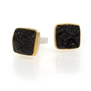 24ct Gold and Silver Cufflinks with Antique Tourmaline