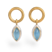 24ct Gold and Silver with Aquamarine Cabochon