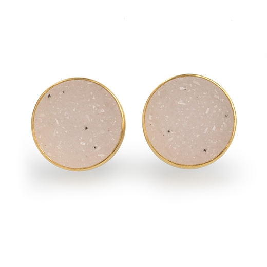 24ct Gold and Silver Earrings with White Druzy Agate