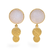 24ct Gold and Silver Earrings with White Round Druzy Agate