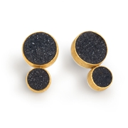 24ct Gold and Silver Earrings with Black Round Druzy