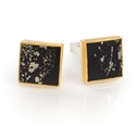 24ct Gold and Silver Cufflinks with Pyrite and Slate