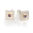 24ct Gold and Silver Cufflinks with Square Tanzanite