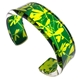 Green & Yellow Madder | Narrow Cuff | Recycled Perspex
